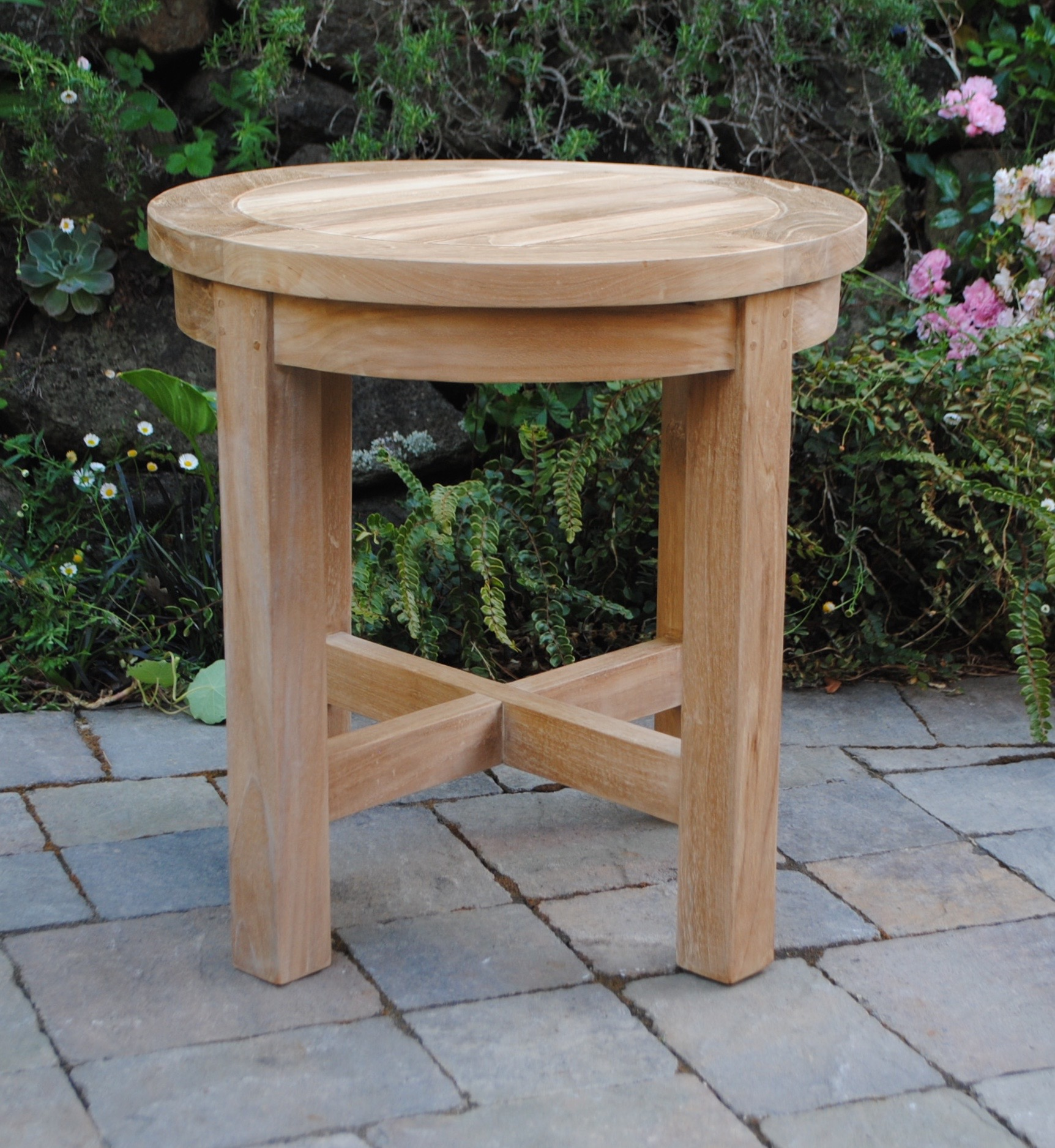 Round Side Table with Cross Bars