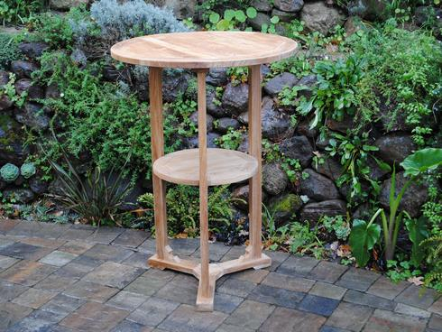 Round Bar Table with Shelf