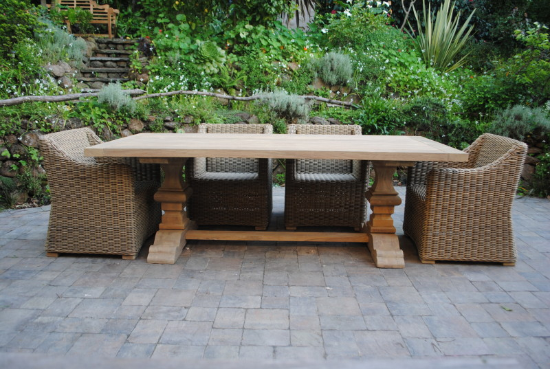 Tuscany Collection Reclaimed Teak Pedestal Base Table Paradise Teak - Teak outdoor dining table