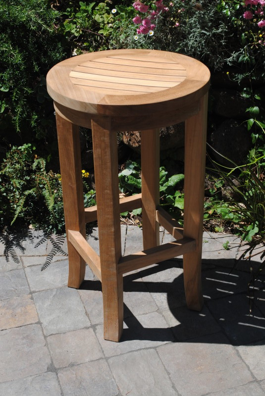 Round Bar Height Teak Stool