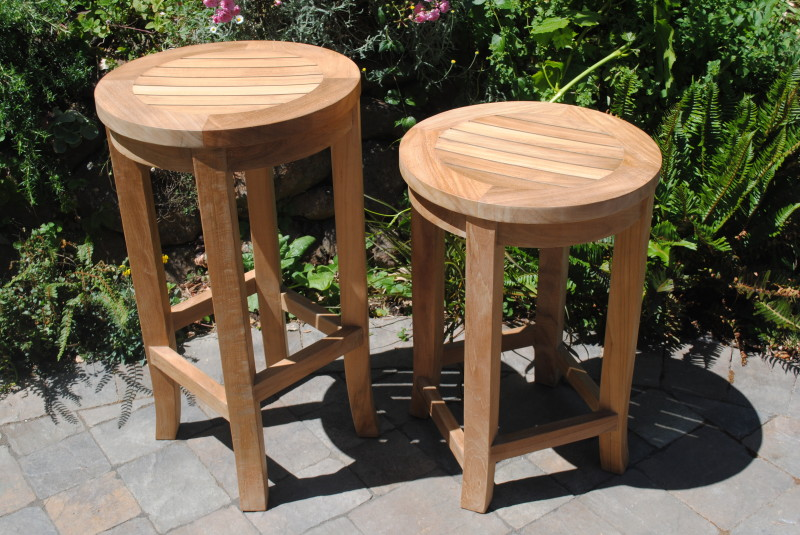 Round Bar Height Teak Stool Paradise Teak